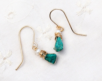Small Stone Earring Genuine Eilat Stone Gold Filled Earrings+ Pearls Rough Turquoise Stone Earring King Solomon Stones Free Shipping Israel
