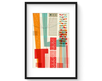 PASTICHE no.23 - Giclee Print - Mid Century Modern Danish Modern Abstract Art Eames Style