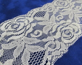 Creamy Ivory 3 Inch Stretchable Polyester Chantilly Lace Trim