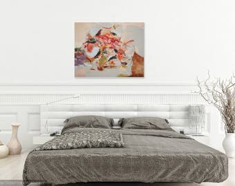 """Original floral abstract painting/Large Abstract Wall Art/Flower Abstract Colorful Wall Art/STUDIO SALE/""""Rose in Wind"""""""