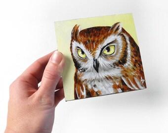 Screech owl painting - owl art block - owl collector gift - small owl painting - woodland wildlife art - yellow