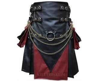 Interchangeable Black & Red Leather Cargo Utility Kilt Leather V Shape Design Spiral Conchos Leather Straps Removable Pockets, Kilt Chains