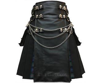 Interchangeable Black Canvas Cargo Utility Kilt Leather Front Panel Skull & Crossbone Conchos, Kilt Chains, Tartan Flash Pleats