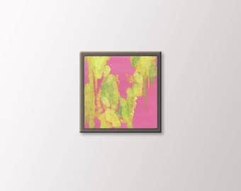 Tiny Wall Art - Abstract 6 by 6 Painting - Contemporary Abstract Artwork on Canvas - Expressionist Painting - Abstract Fine Art - Pink Green