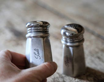 Vintage Pewter Salt and Pepper Shakers