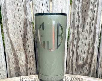 SALE- ready to ship - eJb monogram- 20 oz Ozark Trail™- Etched Olive Powder Coated Stainless Steel Tumbler- FREE shipping