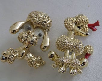 Vintage brooches, 2 French poodle pins, googly eyed Gerry's dog pin, collectible jewelry