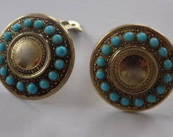Vintage Whiting and Davis blue beads and gold tone clip-on earrings