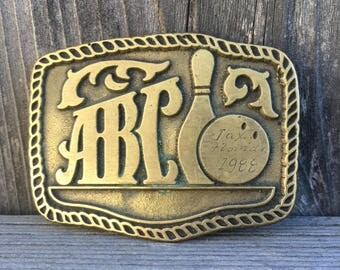 Vintage ABC bowling belt buckle, 1980s belt buckle, 80s brass buckle, retro bowling league, vintage brass belt buckle vtg, Florida 1988