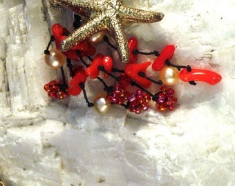 Summer time Sale Event Fine Silver Precious Metal Clay Baby Starfish Pendant with Red Coral and Pearl