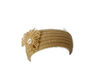 Knit Headband, Headband with Flower, Knit Earwarmer, Womens Headband, Fall Accessory