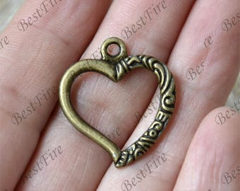 10 pcs Heart Charms Antique bronze Tone,heart Connector Charms Pendant Fingdings pendant,jewelry pendant finding