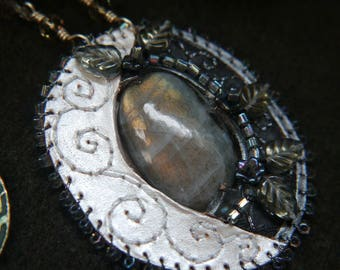 SALE The Waning Moon Labradorite and Leather Necklace with Crystals Pagan Jewellery