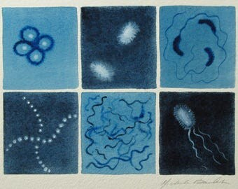 Blue Microbes - original watercolor painting of bacteria