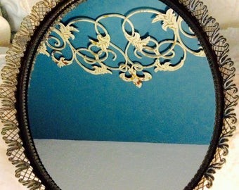 """Vintage Gold Mirror Tray Filigree Dresser Vanity Tray 16.5"""" Tulip Large Gold Plated"""