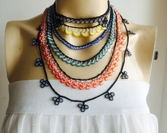 Beaded Oya Necklace-Crochet with white, yellow, orange, black, indigo and blue beads