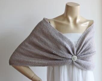 Stone Bridal Capelet / Wedding Wrap Shrug Bolero/Hand Knit  Mohair Shawl/ Scarf with Rhinestone