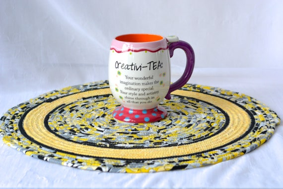 """Yellow Place Mat, 15"""" Handmade Yellow and Black Trivet, 15"""" Quilted Trivet,  Hot pad, Artisan Hostess Gift,  Coiled Potholder"""