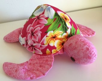 Hawaii Honu, turtle, pink hibiscus and orchid floral fabric