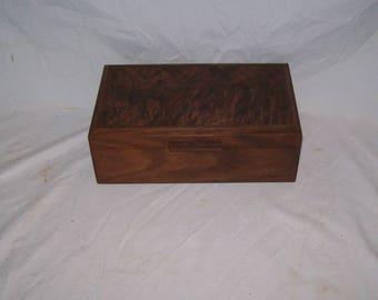 Dynamite Walnut Box with Fancy Walnut Inlayed Top 10x6x31/2Handcrafted wooden box.Keepsake box