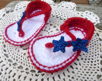 Red, White and Blue Crocheted Baby Sandals, Patriotic Baby Sandals, Crocheted Baby Booties, Patriotic Baby Sandals  (3 sizes)