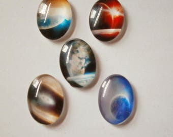 6 - Set of 5 stars 25 * 18 mm glass dome cabochons