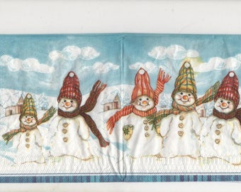 3132 lot 2 snowmen bundled snow paper napkins