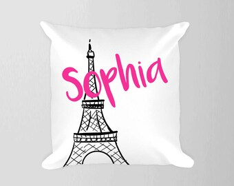 Personlaized Paris Pillow, Girl Nursery Travel Pillow, Eiffel Tower Pillow, Name Paris France Pillow, Travel Nursery Decor, Travel
