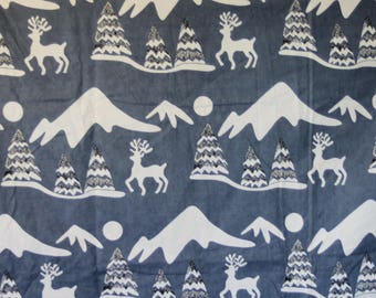 SALE! 3 Yards of Gray Flannel Fabric with Border Print