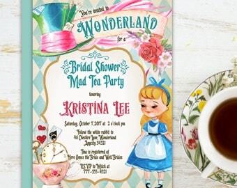 Alice in Wonderland Tea Party Bridal Shower Invitation, Mad Hatter Tea Party Bridal Shower Printable Invitation 6v.2