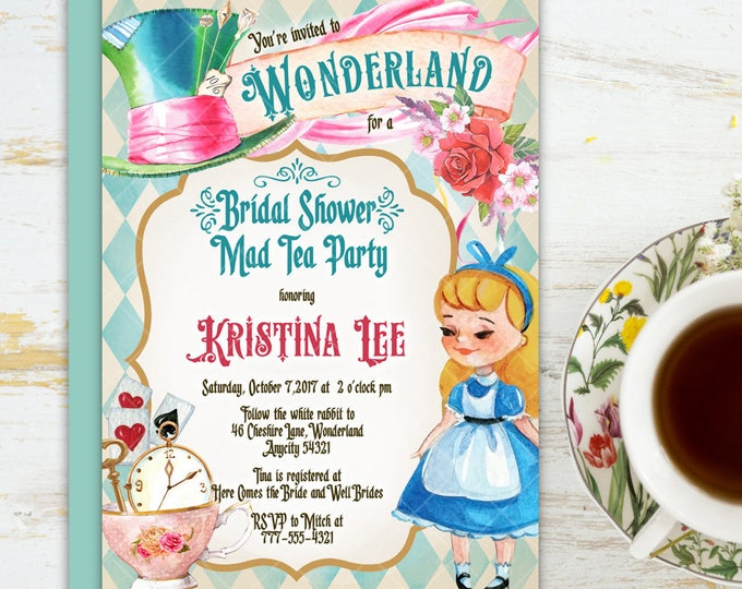 20 off coupon on alice in wonderland tea party bridal shower alice in wonderland tea party bridal shower invitation mad hatter tea party bridal shower printable filmwisefo