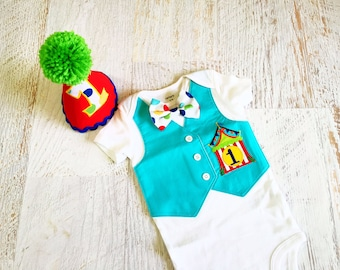 READY TO SHIP 12 Months Circus Time First Birthday Bodysuit Vest with Matching Removable Bow Tie and Birthday Hat