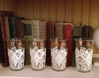 Mid Century Set of 8 Damask Print Tumbler Glasses