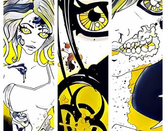 Japanese Manga/Anime ACEO Prints x3 (14.8 cm x 10.5cm) 50's Comic Style Retro Zombie Art