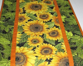 Sunflower Table Runner,  quilted, handmade, wall hanging, door hanger, leaves,  fabric from Timeless Treasures