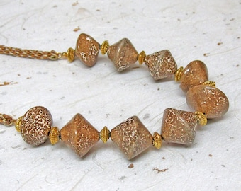 Brown and gold ceramic beaded necklace kumihimo necklace