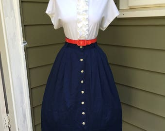 VINTAGE 1950s 1960s Style Navy Blue Cotton Full Skirt