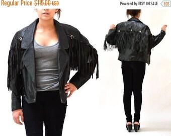 SALE 80s Vintage Black Leather Jacket with Fringe// Vintage Black Leather Motorcycle Western Moto Biker Jacket with Fringe size Medium