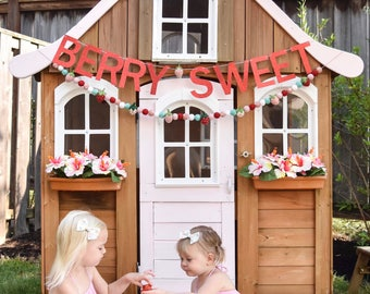Berry Sweet Glitter Card Stock Banner with Strawberry Center - 5 Different Color Options