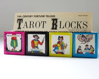 Vintage Halloween Tarot Games, Vintage Tarot Cards Game, 70s Tarot Card Blocks, Fortune Telling Set, Fortune Teller Divination