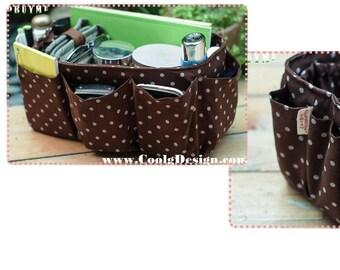 Purse organizer Insert, tote bag organizer insert, Medium and Large in Brown Polka Dots