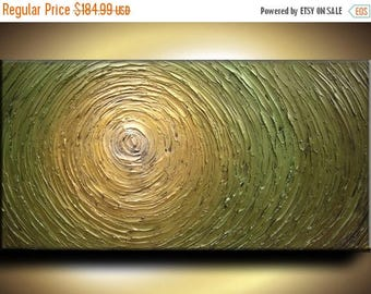 SALE 48 x 24 Custom Original Abstract Heavy Texture Gold Green Modern Metallics Oil Painting by Je Hlobik
