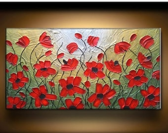 SALE Big Large Abstract Texture Painting Original Custom Texture Carved Sculpture Poppies Floral Red Green Gold Oil Je Hlobik