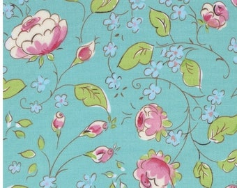 SALE 30% Off - Chinois Rose in Aqua  PWDF199 - CHINOISERIE Chic by Dena Fishbein - Free Spirit Fabric - By the Yard