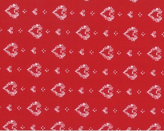 Moda Nordic Stitches, Red Hearts Fabric, Hjerte, Valentine, Farmhouse Christmas Decor, Country Decor, Scandi, Quilt, Fabric By the Yard