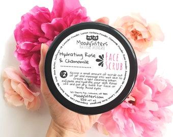 Rose & Chamomile Hydrating Facial Scrub -- Rose Sugar Scrub Chamomile Face Scrub for dry skin - Calming Chamomile Rose Facial Sugar Scrub