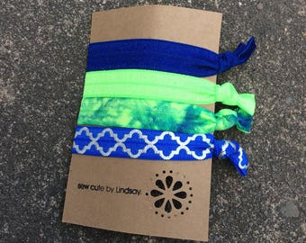 Knotted elastic hair tie - ponytail holder - blue, neon green, tye dye, blue with silver quatrefoil
