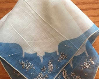 Vintage Blue and White Madeira  Floral Embroidered Handkerchief Hanky- something blue, wedding hanky, blue hanky, madeira hanky, blue hanky