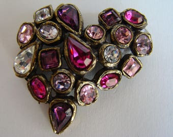 Edouard Rambaud mineral purple and transparent stones heart brooch