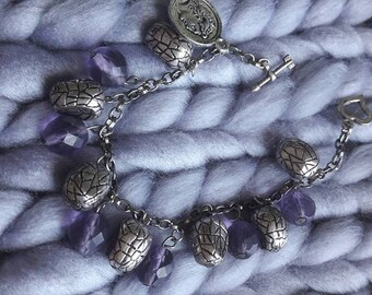 """Bracelet with silver plated and purple glass beads """"PURPLE BEAT"""""""